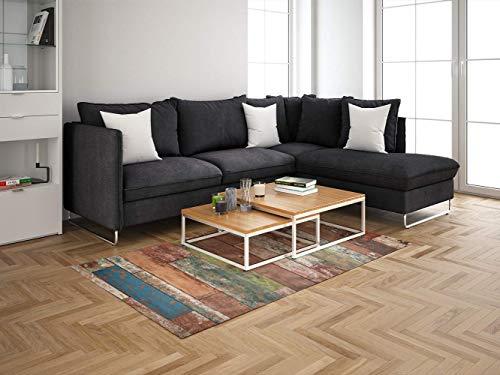 Oedim Tapis Carpette pour Chambre en PVC Lino Motif Imitation Bois parquet | 95 cm x 120 cm | Décoration Maison | Revêtement de Sol en Vinyle | Sol de Protection