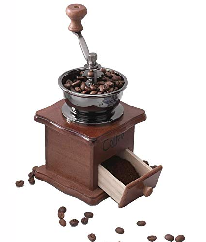 Gleamgo Manual Coffee Grinder Wood Vintage Antique Ceramic Hand Crank Coffee Mill With Adjustable Gear Setting Portable Hand Cleaning Brush Included