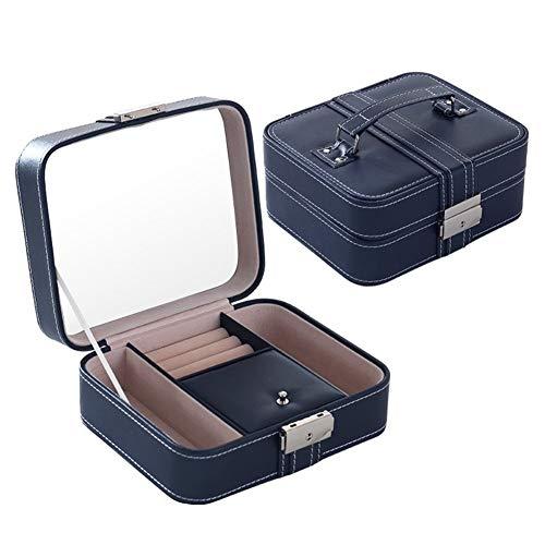 Sshcx3 Schmuckschatulle aus Kunstleder, hohe Kapazität, für Schmuck, Hand, tragbar, Schmuckkästchen, japanische Süßigkeiten, blau, 18 * 15.3 * 8cm
