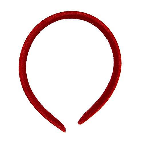 Serre-tête Alice en velours rouge de 1 cm de large.