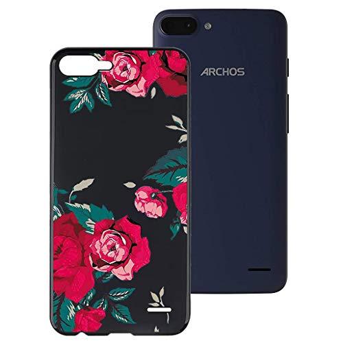 HHUAN Hülle für Archos Core 55S Schwarz Hülle Dünn Weiche Silikon Rote Rose Stoßfest Handyhülle Tasche Schale Bumper TPU Schutzhülle Cover für Archos Core 55S (5.45