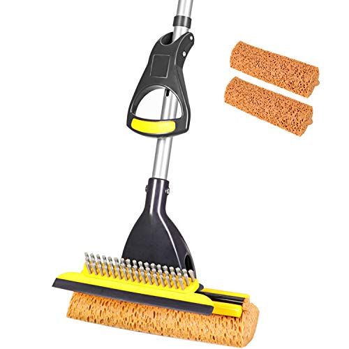 Yocada Sponge Mop Home Commercial Use Tile Floor Bathroom Garage Cleaning with Total 2 Sponge Heads Squeegee and Extendable Telescopic Long Handle 42.5-52 Inches Easily Dry Wringing