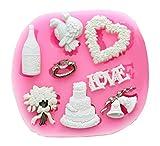 Inception Pro Infinite Molde de silicona para uso artesanal - Corona de flores con forma de corazón - Tarta nupcial - Champán - Colombe - Campanas - Anillo de boda - Idea regalo
