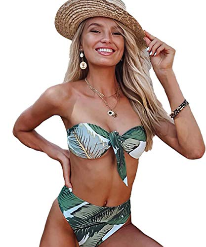 JFAN Mujer Conjunto De Bikini Traje de Baño 2020 Push up Bikini Floral Monokini Tropical Hojas Verdes Bikini (L)