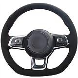 NsbsXs Für Volkswagen Golf 7 GTI Golf R MK7 Polo GTI Scirocco 2015 2016 Schwarzes Wildleder Handgenähte Autolenkradabdeckung