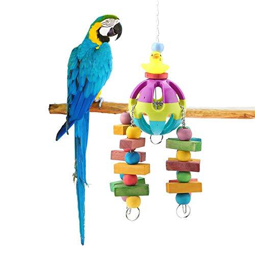 HEEPDD vogel kauwspeelgoed, kleine bel gele eend vogel speelgoed opknoping houten Swing speelgoed voor Macaw Afrikaanse Grijs Amazon Cockatoo Budgies Parakeet Cockatiel Lovebird