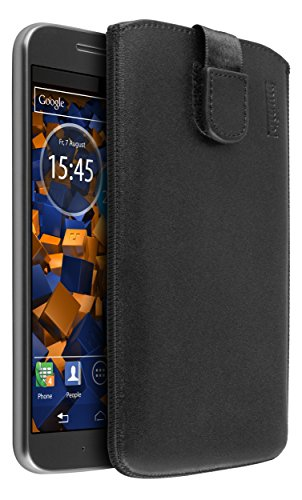 mumbi Echt Ledertasche kompatibel mit Motorola Moto G4 / G4 Plus Hülle Leder Tasche Case Wallet, schwarz