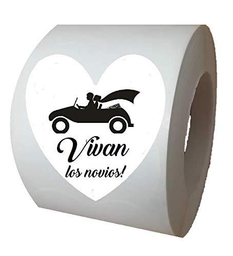 Etiquetas adhesivas blancas corazón Viva los novios (texto en español)