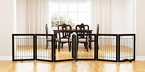 PAWLAND 144-inch Extra Wide 30-inches Tall Dog gate with Door Walk Through, Freestanding Wire Pet Gate for The House, Doorway, Stairs, Pet Puppy Safety Fence, Support Feet Included, Espresso,6 Panels