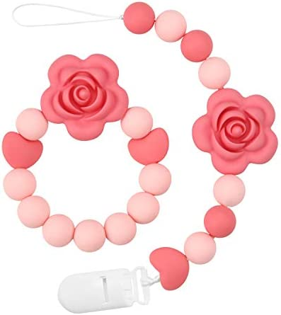 PandaEar Pacifier Clip Baby Girl Silicone Teething Relief Teether Toy Soothie Binky Holder BPA product image
