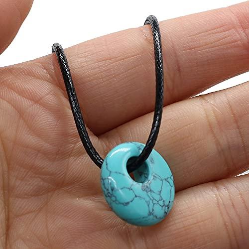 DGSDFGAH Collar De Mujer Collar con Colgante De Cuarzo Simple con Patrón Azul Cielo, Collar con Colgante Simple Y De Moda, Mujeres, Hombres, Collares De Joyería