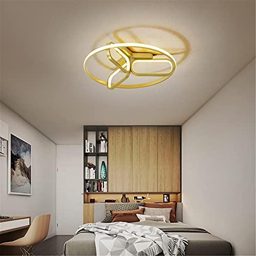 Lámpara De Techo LED Chic 2021 Luz De Techo Regulable 3000K-6000K Para Sala Moderna Con Control Remoto, Lámpara Colgante De Acrílico Aluminio Con Diseño Trípode Para Cuarto Comedor Oficina,Gold 55cm