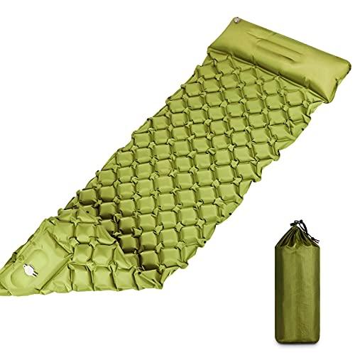 Isomatte Selbstaufblasend , Isomatte Camping Outdoor Ultraleicht mit Fußpresse Pumpe. Selbstaufblasbare Isomatte mit Kissen für Reise, Outdoor, Wandern, Strand(Grün)
