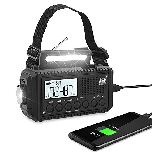 Emergency Hand Crank Solar Weather Radio, 5000mAh Portable AM/FM/Shortwave NOAA Alert Radio for Survival & Home,LCD Display,Auto Scan,Reading Lamp,Flashlight,Headphone Jack,USB Phone Charger & SOS