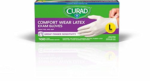 CURAD Comfort Wear Latex, Vinyl Exam Gloves, Large (Pack of 300)