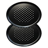 Grizzly Round Pizza Crisper Tray - Set of 2 Perforated Baking Pans for Oven - 30 cm (12 inch) - Non-Stick