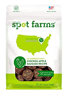 Spot Farms All Natural Human Grade Dog Treats, Chicken Apple Sausage, 12.5 Ounce