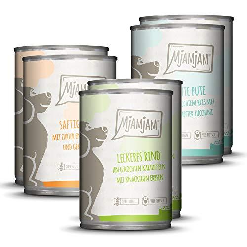 MjAMjAM - Premium Nassfutter für Hunde - Mixpaket 1 - Huhn & Ente, Rind, Pute, 6er Pack (6 x 400 g), getreidefrei mit extra viel Fleisch