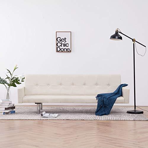 Festnight Schlafsofa mit Armlehnen Sofa mit Bettfunktion Klappbar Funktionssofa Klappsofa Creme Polyester