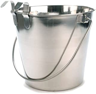 Bonka Bird Toys Stainless Steel Quart Flat Sided Food Water Bucket Pail Dog Kennel Farm Buckets Dogs Toy Crate Large Bowls Pails Pet
