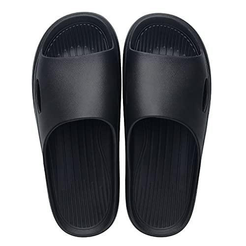 ciabatte estive donna da casa ciabatte piscina scarpe estive donna basse infradito in paglia ciabatte donna casa estive comode scarp tacco beige (Men-Black,46)