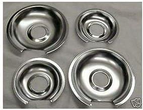 2 X WB32X10012, 2 X WB32X10013 Range Drip Pan 6 Inch & 8 Inch, Chrome-Replaces AP2634757, AH244677, PS244677, AP2635055, A...