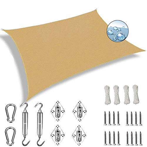 AMZERO Toldo Vela Rectangular 2x2.5m Toldos IKEA Impermeable 304 Acero Inoxidable Kit de Montaje para Jardin Terraza Patio Gris, Beige