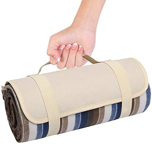 Extra Large Picnic & Outdoor Blanket Zipper Dual Layers for Outdoor Water-Resistant Handy Mat Tote Spring Summer Blue and White Striped Great for The Beach,Camping on Grass Waterproof Sandproof