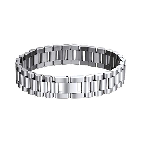bandmax Men Women Stainless Steel Silver Curb Chain Bracelet Bangle Emgraved EMC Alert ID Message Personalized Medical Symbol Metal 8.7in(22CM) Length,0.6in(15.5MM) Width Charm Link Bracelet Jewelry