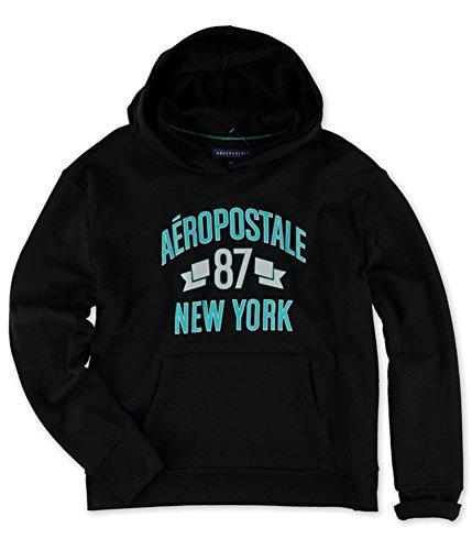 Aeropostale Womens New York '87 Hoodie Sweatshirt, Black, Large