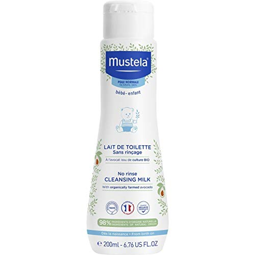 Mustela No Rinse Baby Cleansing Milk - with 98% Natural Ingredients - 6.76 fl. oz.