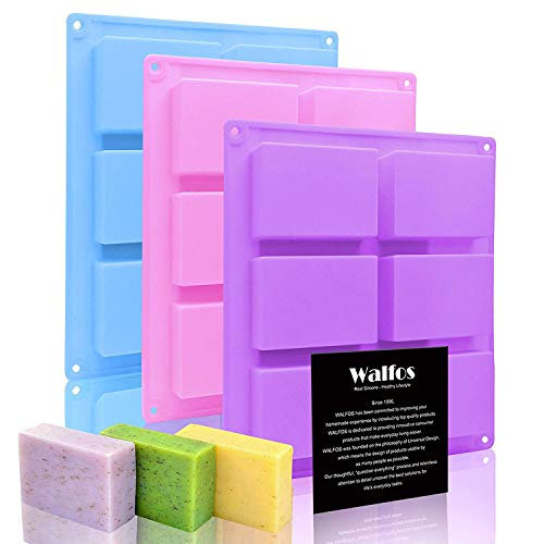 Silicone Soap Molds Set of 3, 6 Cavities Rectangle Silicone Soap Molds for Homemade Craft Soap Mold, Cake Mold, Chocolate Mold & Ice Cube Tray(Blue & Purple & Pink)