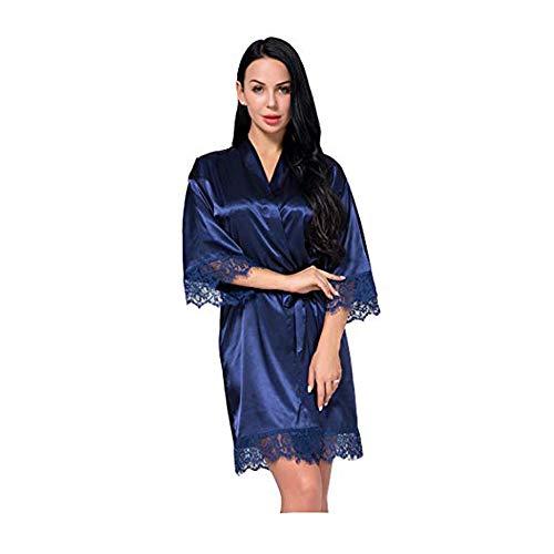 Bata de Mujer Kimono, satén Sedoso Ropa de Dormir Albornoz con Pavo Real y Flores Kimono Bata de Seda Pijama Suelto Estilo Corto