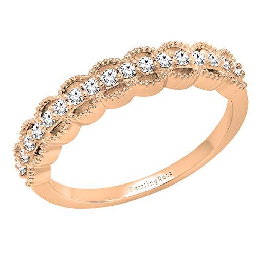 Anillo de boda de 0,25 quilates (peso total), oro de 10 quilates, diamante redondo de laboratorio para mujer, estilo vintage, 1/4 ct