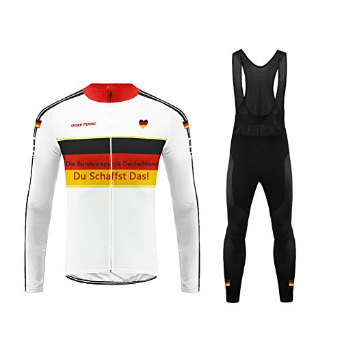 Uglyfrog Deutschland Komm Schon ! Winter Thermal Fleece Radtrikot, Herbst Fahrrad Kleidung Full Zipper Fahrradbekleidung MTB Rennrad Wear
