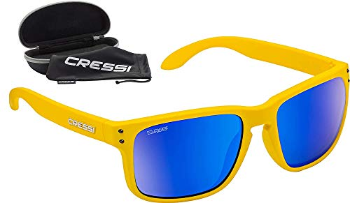 Cressi Blaze Sunglasses Gafas de Sol HTC polarizadas y repelentes al Agua, Adultos Unisex, Amarillo Sunflower Espejadas Lentes Azul, Talla única