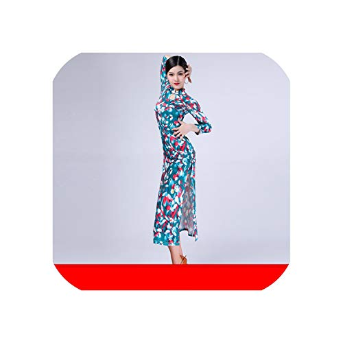Latin Dance Clothing New Adult Female Long-Sleeved Dress Cheongsam Practice Performance Exercise Suit Set,Green Fat Red Skinny,L