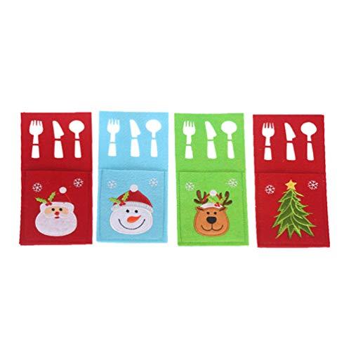 Amosfun 4 Piezas navideños Cubiertos de Plata Bolsillos Santa elk árbol patrón Cubiertos Bolsa Utensilios Porta...