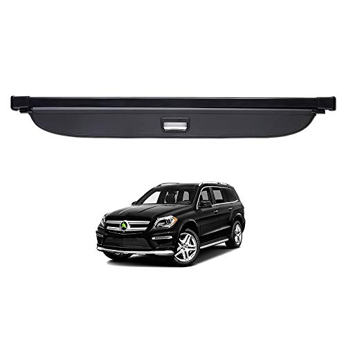 Powerty GL GLS Cargo Cover Rear Trunk Shade Retractable Trunk Shield Luggage Tonneau Security Cover for Mercedes-Benz GL GLS 350 500 550 2013 2014 2015 2016 2017 2018 Black