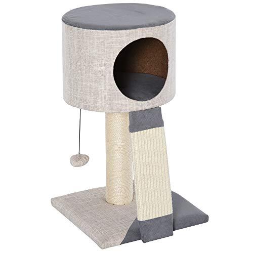 Pawhut Árbol para Gatos Torre de Gatos con Bola Colgante Cueva Compacta Poste Rascador Tablero de Rascado Plataforma Inferior Suave 30x30x50 cm Gris