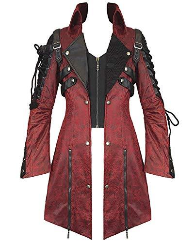 Punk Rave Veleno Giacca Da Uomo Rosso In Finta Pelle Nera Gotica Steampunk Cappotto Militare - sintetico, Rosso, 100% poliestere n100% poliestere, Uomo, M, Rosso