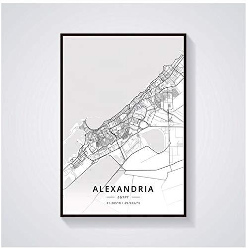 Vektenxi Abstract World map Room Decoration Alexandria Egypt map poster-20x30 inch(50x75cm) No Frame