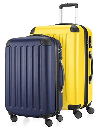 HAUPTSTADTKOFFER - Spree - 2er Koffer-Set Hartschale Matt, TSA, 55 / 65 cm, mit Volumenerweiterung, Dunkelblau-Gelb
