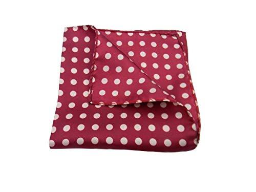 Avantgarde - Pochette da taschino uomo fazzoletto da giacca in seta a pois pallini grandi: colore bordeaux a pois bianco panna 1
