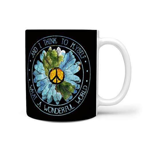 RNGIAN And I Think To Myself What A Wonderful World Sunflower Peace - Taza de café para oficina y hogar, 325 ml, cerámica, Blanco, 311,84 g