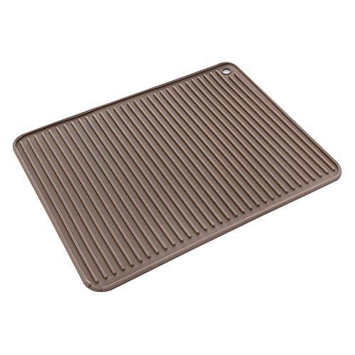 Abtropfmatte aus Silikon, gute Griffe, Abtropfmatte, Spüle oder großer Silikonuntersetzer, Abtropfmatte für Küchenspüle, 40 x 31 cm 40*31*0.7cm braun