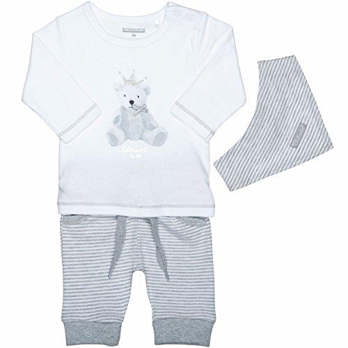 Unisex Baby 3-teiliges Geschenkset | Langarm-Shirt Hose Halstuch | White Grey Größe 62 für Jungen und Mädchen