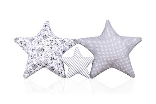 Amilian® Set 3 x Kissen Stern Sternchen Dekokissen Kuschlig Flauschig ca. 60 cm/ 28cm (SET31)