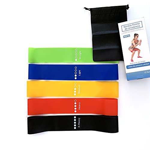 Set 5 Bandas elasticas Fitness/ Bandas de Resistencia y musculación Latex Natural (Set 1)