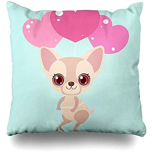 Imodest Kussenhoezen Hondje Leuke Chihuahua Ballonnen Harten Schattig Roze Verjaardag Meisje Kussensloop 45 x 45 cm Kussensloop set van 2